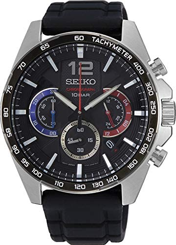 Seiko Men's Quartz Watch, Analog Display and Rubber Strap SSB347P1