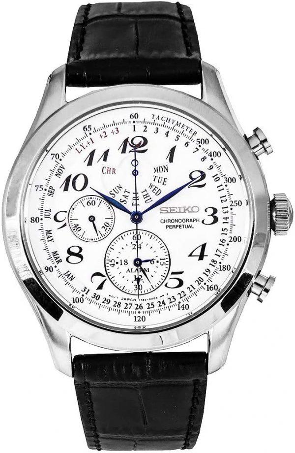 Seiko Mens Quartz Watch, Analog Display and Leather Strap SPC131P1