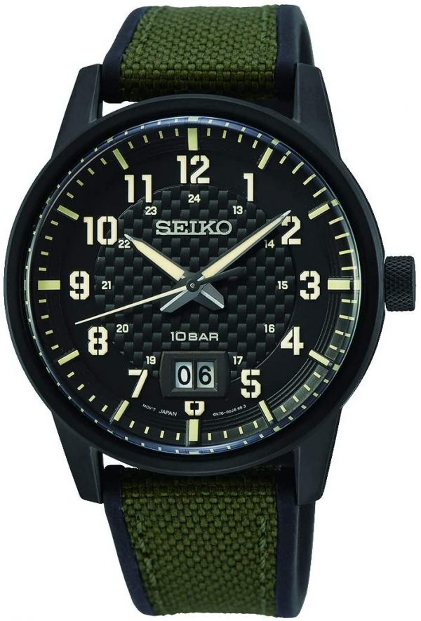 SEIKO men's Sport Khaki Dial Watch With Canvas Strap - SUR325P1