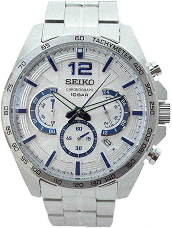 Seiko Mens Quartz Watch, Analog Display and Stainless Steel Strap SSB343P1