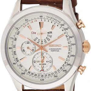 Seiko Mens Quartz Watch, Analog Display and Leather Strap SPC129P1