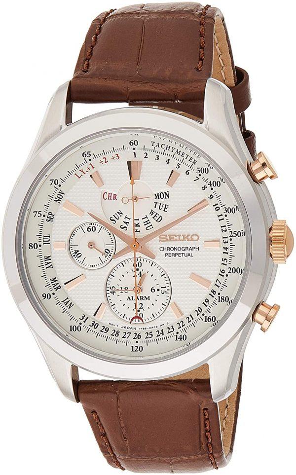Seiko Mens Quartz Watch, Analog Display and Leather Strap SPC129P1