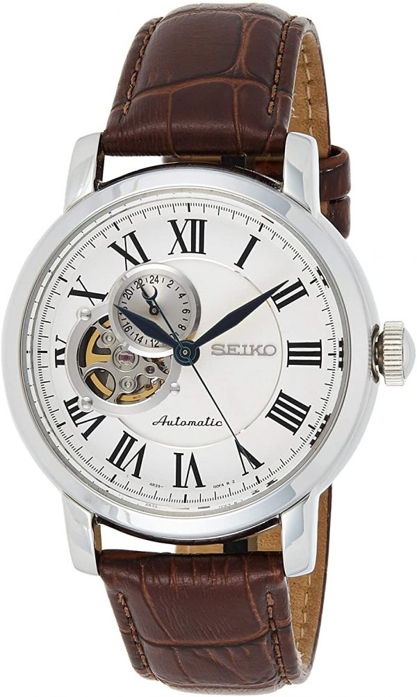 Seiko Mens Automatic Watch, Analog Display and Leather Strap SSA231K1